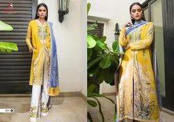 Shree Fab Multicolor Designer Pakistani Lawn Suit, Size: fabric