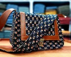 N.K. Retails Cotton and Leather Ladies Sling Bag, Size: 11x7 Inches