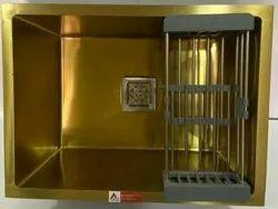 Gold Matt Single Bowl Stainless Steel Handmade Sink (24 X 18 X 10, Gold Matt)