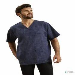 Plain Male Linen Blend Men's V-neck Tunic
