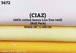 Ciaz 100% Cotton Heavy Liza Fine Twill Shirting Fabric