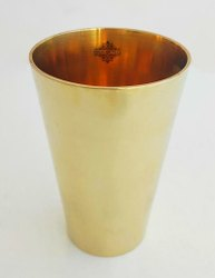 Bronze Kansa Utensils Glass Tumbler Cup, 470 ML, Drinkware, Yoga Ayurveda, Gold