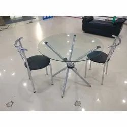 Transparent,Black SS,Wooden Glass Round Table Chair, For Bar