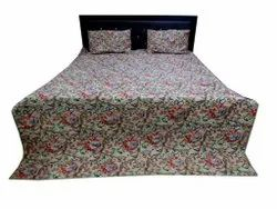 Floral Cotton Quilted Bed Comferter With Two Pillow