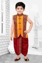 2 Piece Kids Yellow Dhoti Kurta, 4 Years