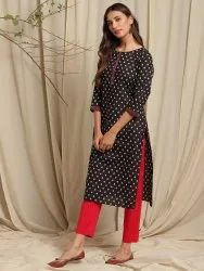 Janasya Women's Black Cotton Kurta(JNE3622)