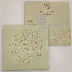 Laser Cut Flower Motif Foil Printed Wedding Card Invitation Card, 2 Leaflet