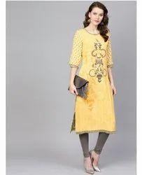 Casual Wear 3/4th Sleeve Yellow Shri Branded Kurti, Wash Care: Machine wash