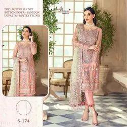 Stitched Ladies Designer Pakistani Lawn Suit, Machine wash