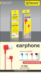 TP Troops Mix Colour Earphone (R, G, C & B) 7049   (Box-300)  Earphone