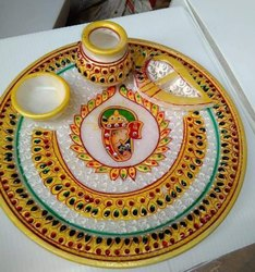 Painting White Marble Handicraft Decorative Items, For Anyway, Size/Dimension: 6 Inch To Above