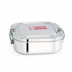 Stainless Steel Square Shaped Lunch Box with Steel Separator Plate and Locking Clip System