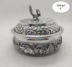 Black Oxidised 925 Silver Antique Kumkum Dabbi, Size: 4 Inch