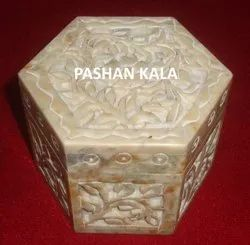 Beautiful Soapstone Carving Octagonal Shape Box