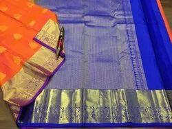 Indian Ethnic Designer Orange Kanjivaram Bridal Silk Saree, Dry Clean, 6 m (with Blouse Piece)