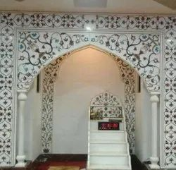 Traditional White Inlay Masjid Qibla, For Mosque, Size: 8x6 Feet