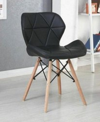Wooden And Pu Designer Black Cafe Chair, Seating Capacity: 1, Size: 18 Inch