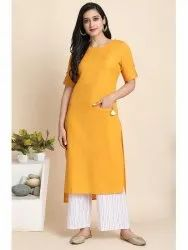 Janasya Women's Mustard Cotton Flex Kurta With Palazzo(J0146)