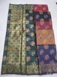 Party Wear Handloom Work Ladies Designer Chanderi Silk Saree, 6.3 Meter