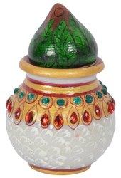 White Marble Hnadicraft Cooconet Kalash, For Decoration, Size: 4 Inch