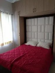 High Back Plywood Double Bed, For Hotel, Size: 6 X 6 (l X W)