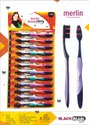 Multicolor Polypropylene Merlin-black Pearl Toothbrush, For Tooth Cleaning, Packaging Size: 12