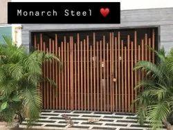 Hinged Black Modern Mild Steel Gate, For Residential
