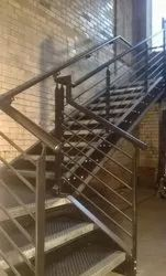 Straight Run Stairs Stainless Steel Staircase, For Home, Material Grade: 304