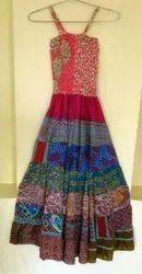 Casual Multicolor Sari Silk Maxi Dress
