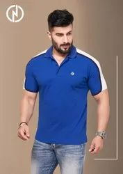 Half Sleeve Blue & White Corporate Contrast Shoulder Pattern Polo Tshirt