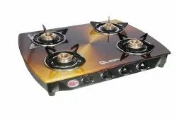 TOUGHNENED GLASS BLACK & GOLDEN Quba Gas Stove B4 Copper, For Kitchen