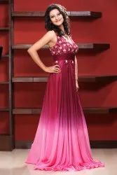 Stitch Embroidered Party Wear Gown, Size: Xs-xxl