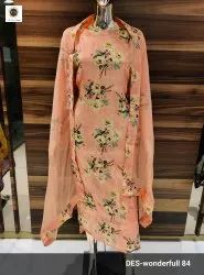 Ladies Maslin Embroidered Suit