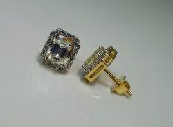 Jss Creations Party Wear Emerald Cut Diamond Stud Earrings, 2.980 Grams, 14 Kt