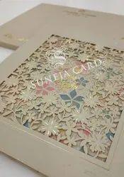Laser Cut Flower Soft Feel Foil Printed Wedding Card Invitation Card, 2 Leaflet