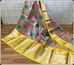 Party Wear Gota Work Chanderi Tissue Banarasi Silk Saree, 6.3 m (with blouse piece)