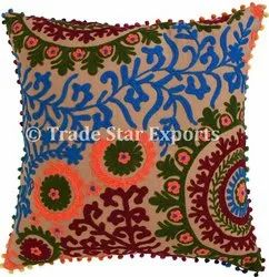 Luxuries Suzani Embroidered Sofa Pillow Cover 16x16 Cotton Bedding Cushion Cover