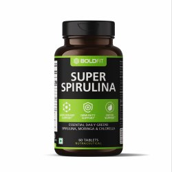 Boldfit Spirulina 500 Mg Supplement With Moringa Oleifera & Chlorella, 60 Tablets, Non Prescription