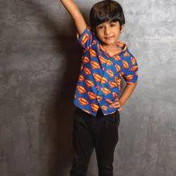 Half Sleeves Blue Thiya Superman Printed Casual Wear Kids Cotton Shirt