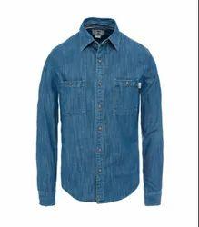 Plain Blue Denim Shirts For Men