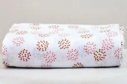 Muslin Cotton Fabric, Digital Prints, White