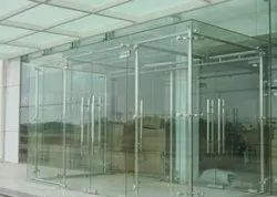 Hinged Plain 12mm Clear Toughened Glass Door, For Office