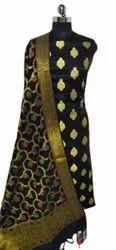Black Brocade Banarasi Silk Unstitched Suit, Handwash