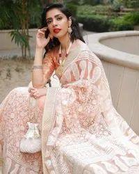 Chain Stich Work White,Peech Designer Heavy Soft Net Saree, 5.5 m (separate blouse piece)
