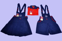 Blue And Red Plain Denim Kids Play School Uniform