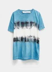 Rayon Blue Tie Dye T Shirt, Age Group: 16-50