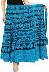 Printed Rayon Ladies Blue Long Skirt
