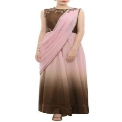 Offline Hand Embroidery Ladies Designer Draped Gown, For Delicate Designing