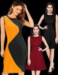 Cotton Lycra Indo Western Designer Midi dress Set of 3