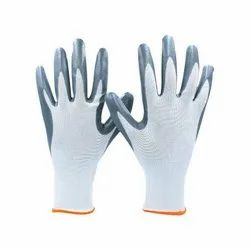 Grey On White Latex Palm Coated Hand Gloves